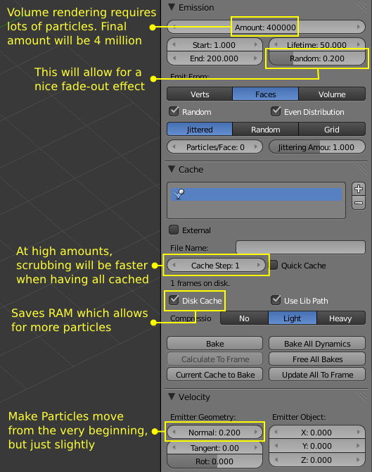 Settings Particle System