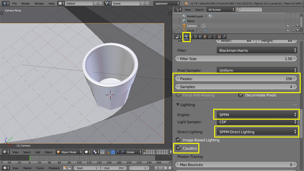 Appleseed settings for caustics rendering using SPPM in Blender