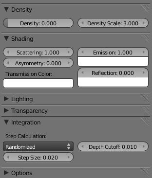 Volume Material Settings