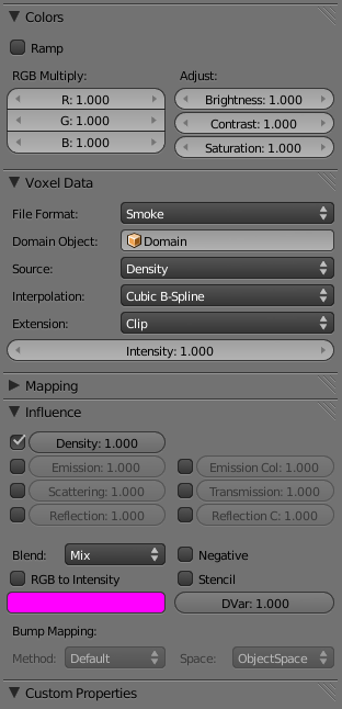 Settings Smoke Texture