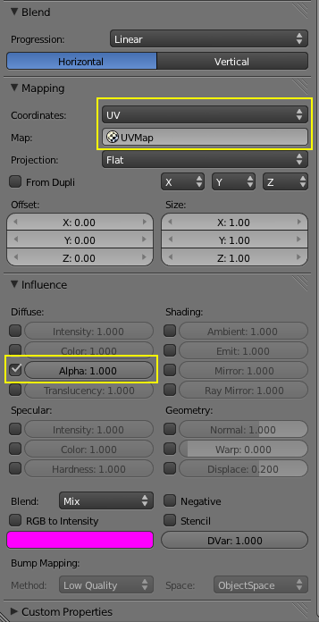 Fade Out Texture Settings 2
